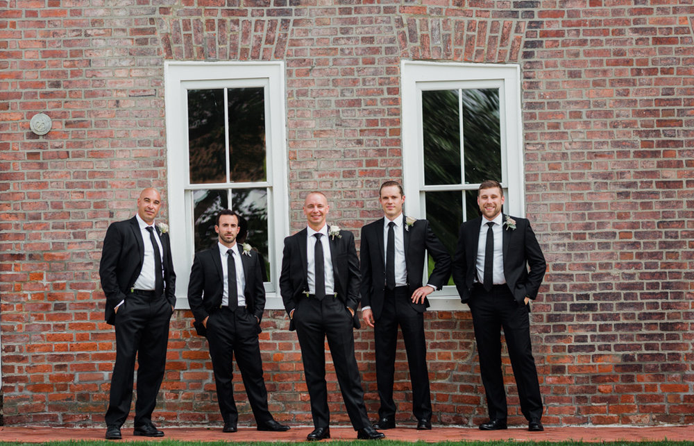 Groom and Groomsmen in Old Worthington. Bridal party in Old Worthington. Park of Roses Wedding.