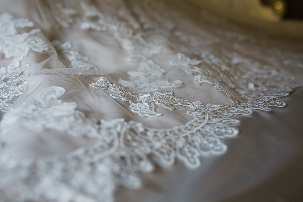 Lace detail on  Morilee  wedding gown