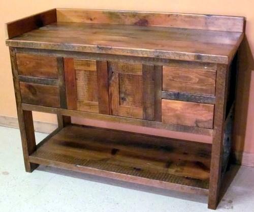 Minnesota Reclaimed Wood Vanity - Minnesota Reclaimed Wood Vanity €� Barn Wood Furniture - Rustic