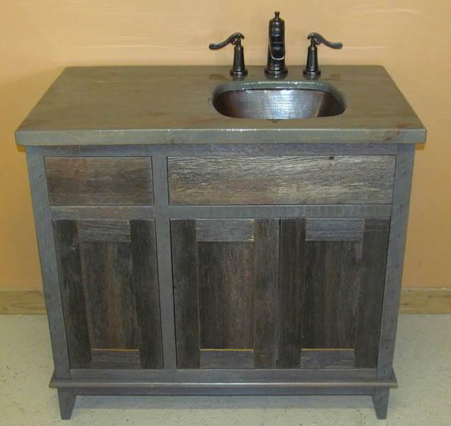 Antique weathered gray barn wood vanity barn wood for Gray rustic bathroom
