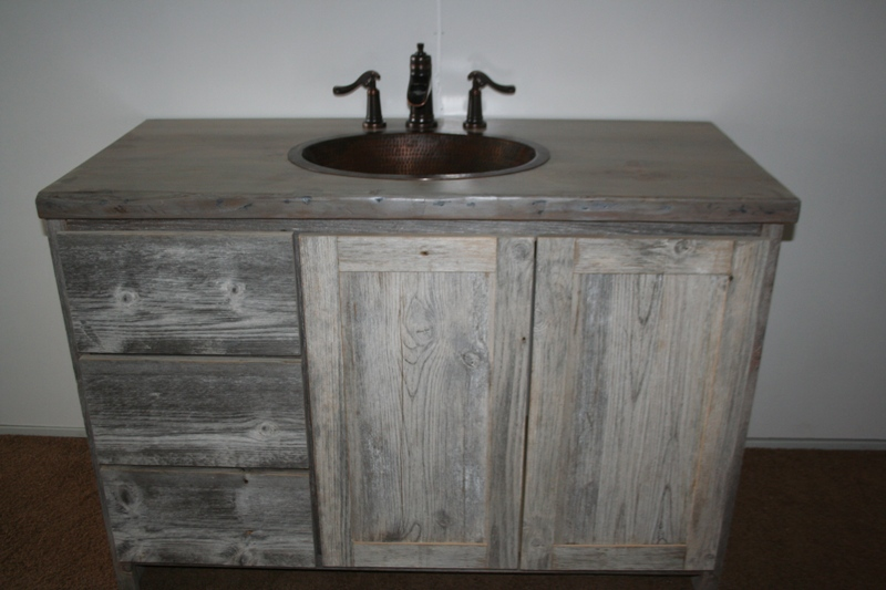 weathered gray vanity photo jpg. Weathered Gray Vanities   Barn Wood Furniture   Rustic Barnwood