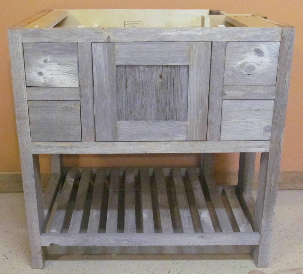Weathered Gray Minnesota Reclaimed Wood Vanity Barn Wood Furniture Rustic Furniture Log