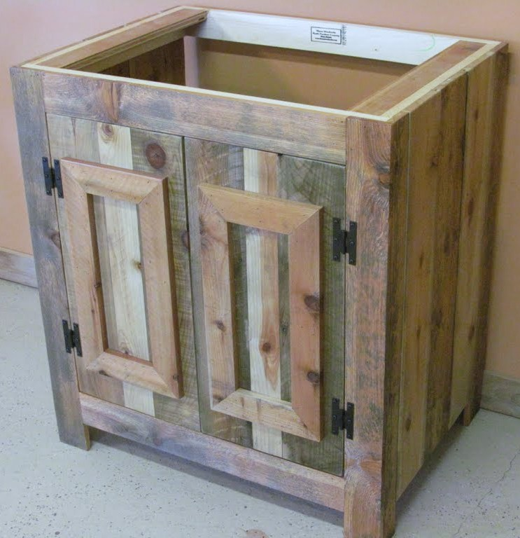 reclaimed wood rustic bathroom vanity — barn wood furniture