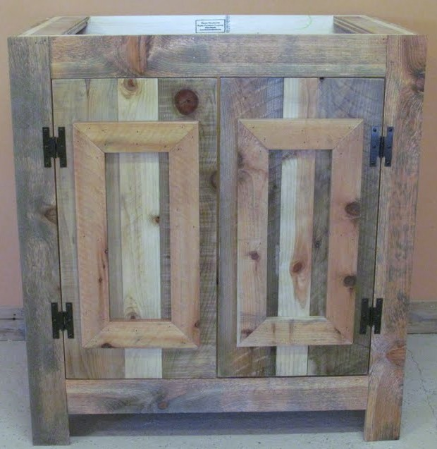 reclaimed wood rustic bathroom vanity