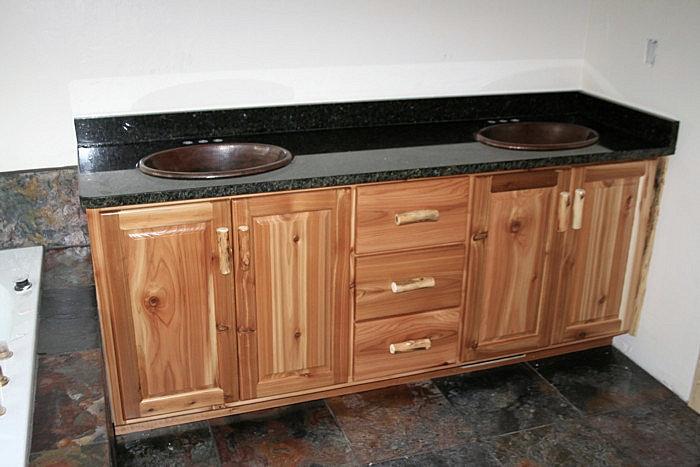 Rustic Bathroom Double Vanities rustic cedar bathroom vanity — barn wood furniture - rustic