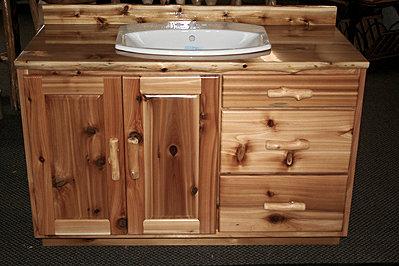 Rustic Cedar Bathroom Vanity.