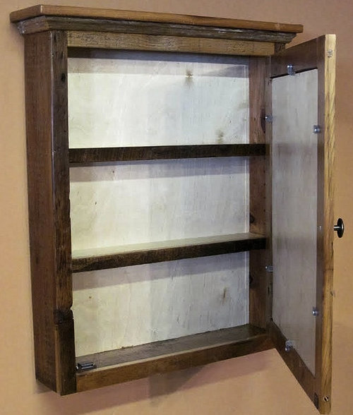 Barn Wood Medicine Cabinet With Mirror €  Barn Wood Furniture - Reclaimed Wood Medicine Cabinet WB Designs