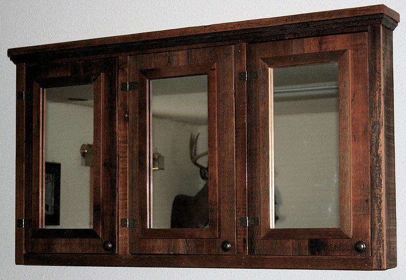 Barn Wood Medicine Cabinet Triple Mirror