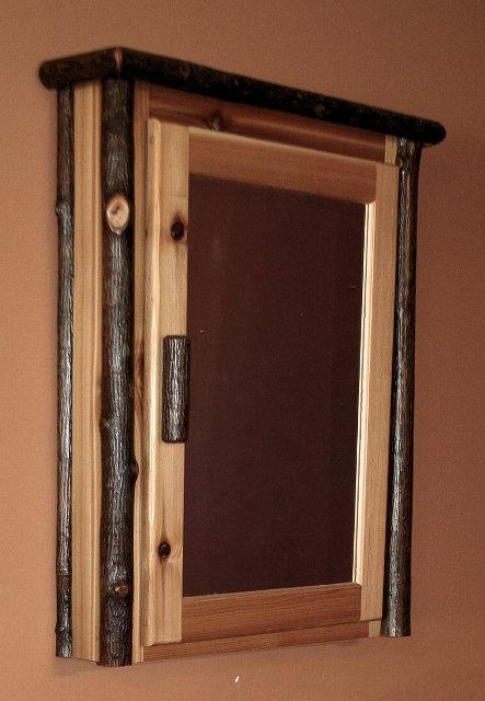 Rustic Hickory Log Medicine Cabinet
