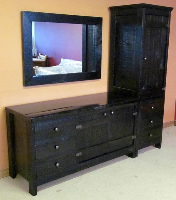 Antique Black Linen Cabinet