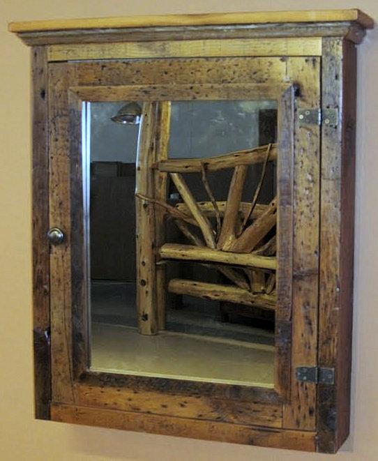 Barn wood medicine cabinet with mirror barn wood furniture rustic barnwood and log furniture for Wood bathroom medicine cabinets with mirrors