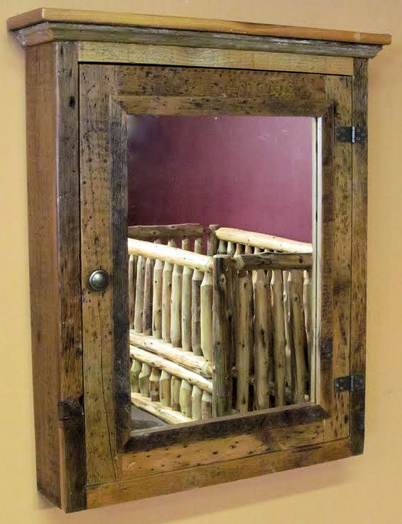 Barnwood Medicine Cabinet With Mirror