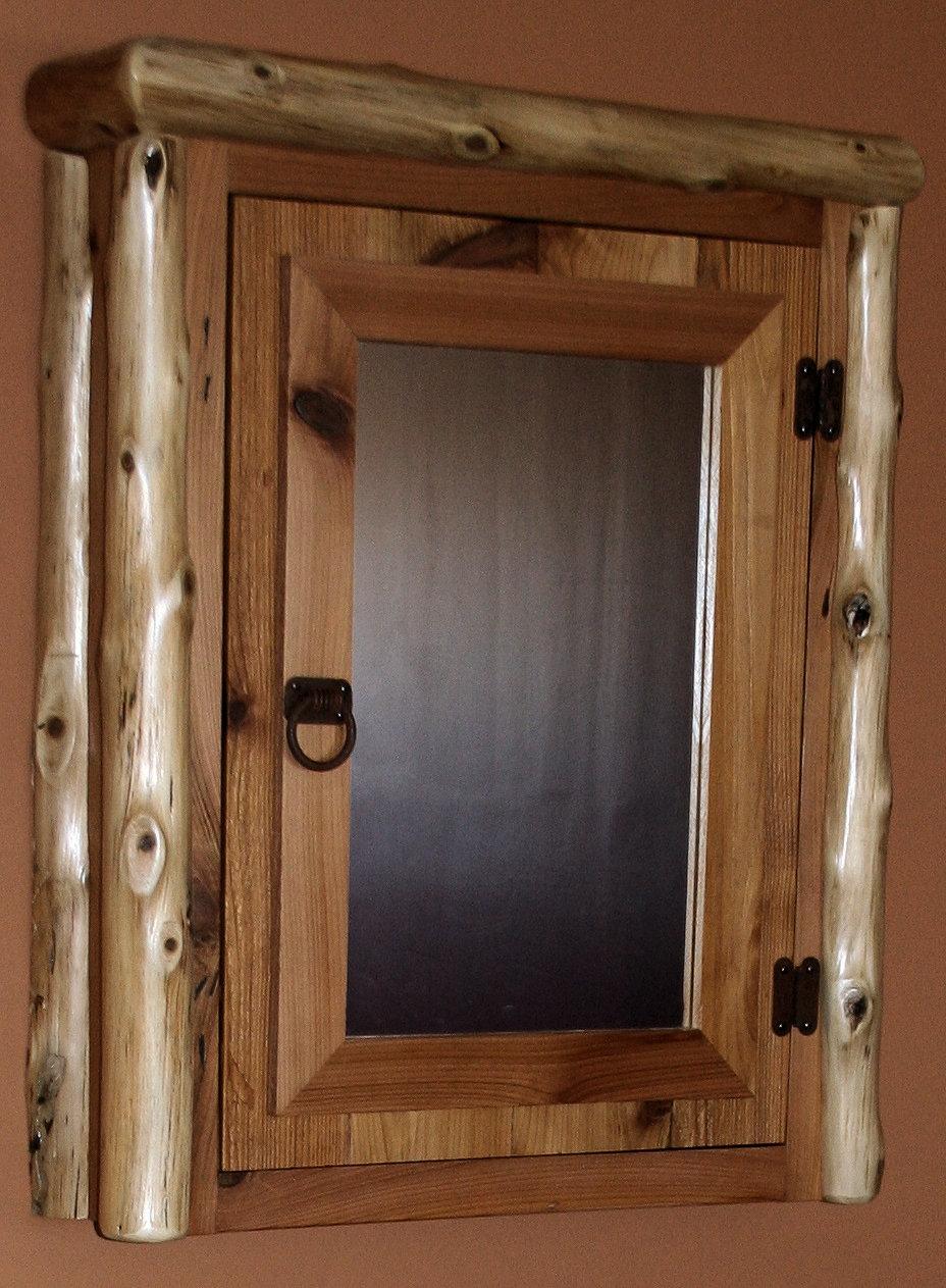 Cedar log reclaimed wood medicine cabinet jpg