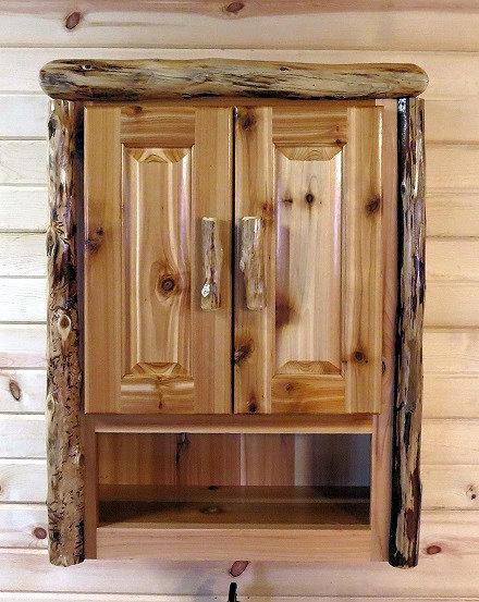 Rustic Character Cedar Log Toilet Cabinet