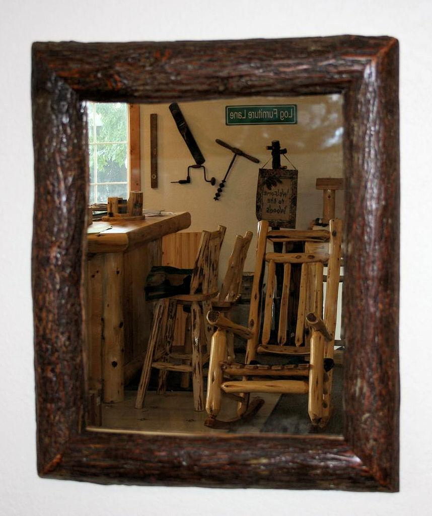 Hickory Log Mirror