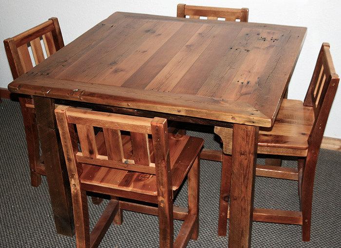 Barn Wood Bar Table Chairs