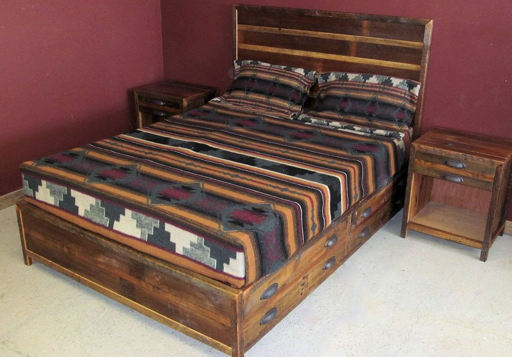Reclaimed Wood Platform Beds. View Our Rustic Bedroom Furniture ...