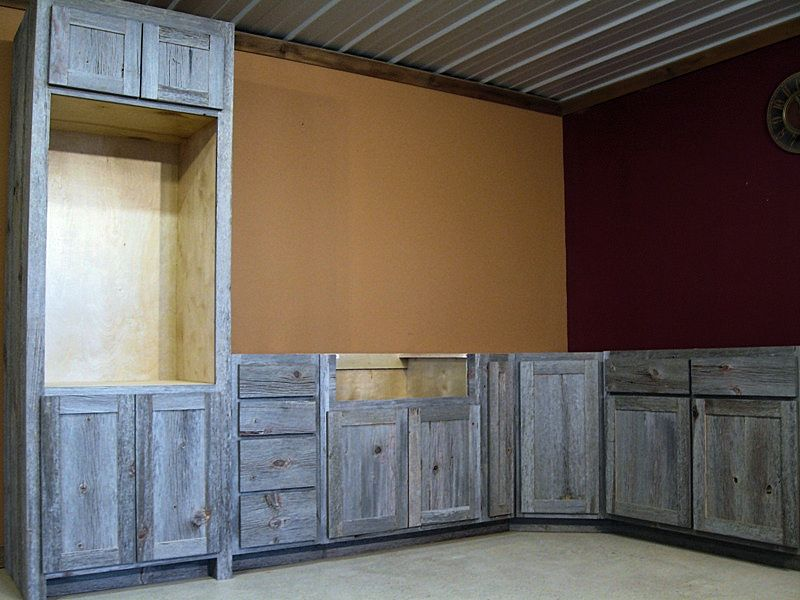 Weathered Gray Barn Wood Kitchen Cabinets