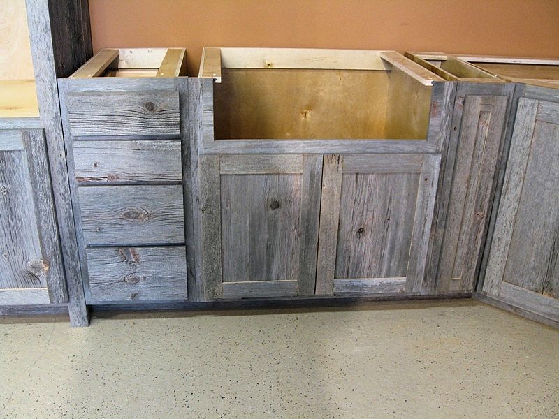 Weathered Gray Barn Wood Kitchen Cabinets & Weathered Gray Barn Wood Kitchen u2014 Barn Wood Furniture - Rustic ...