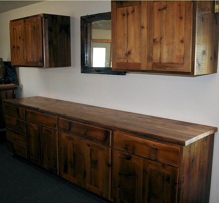 Reclaimed barnwood kitchen cabinets barn wood furniture for Barnwood kitchen cabinets