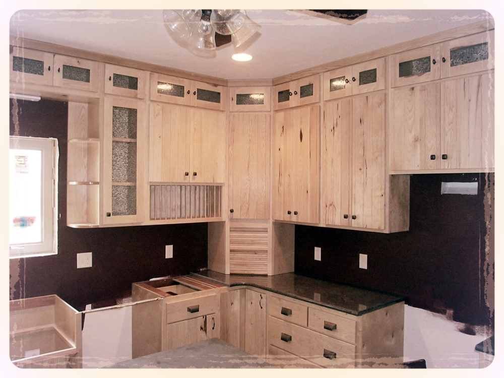 White hickory kitchen cabinets barn wood furniture for Rustic kitchen cabinets