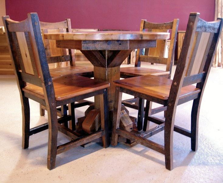 round barn wood dining table barn wood furniture rustic barnwood rh viennawoodworks com