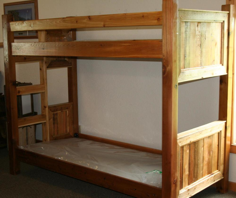 Barnwood Style Bunk Bed From Reclaimed Cedar Barn Wood Furniture