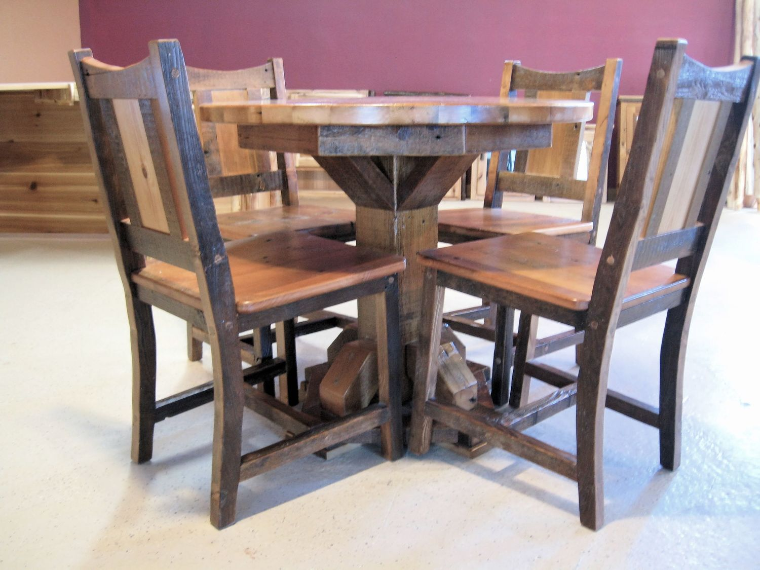 Round barn wood dining table barn wood furniture rustic barnwood barn wood table chairsg dzzzfo