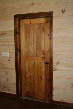 reclaimed wood door hung2jpg - Rustic Wood Interior Doors