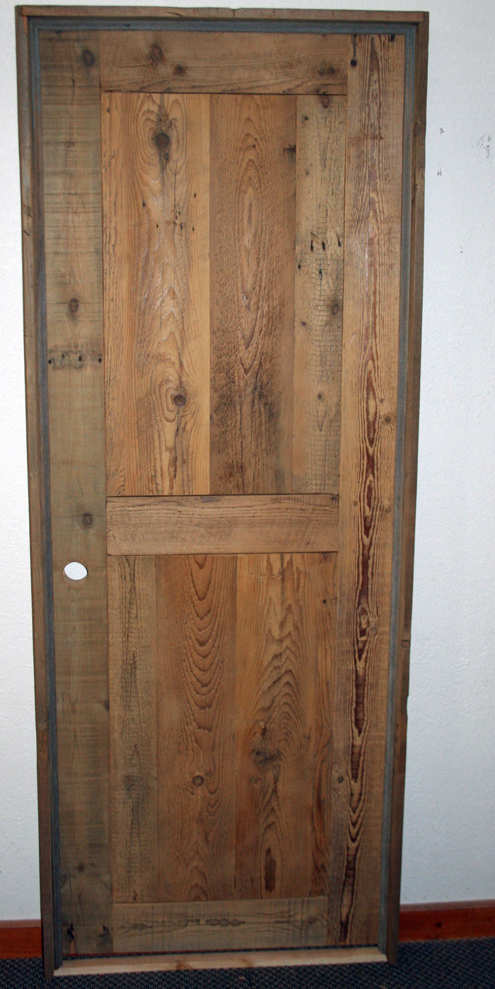 Barn wood interior door unfinished barn wood furniture rustic barnwood and log furniture by for Interior wood doors home depot