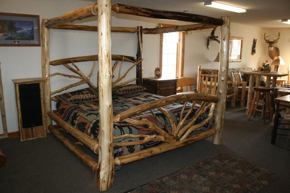 Bent Branch Canopy Log Bed Barn Wood Furniture Rustic Barnwood