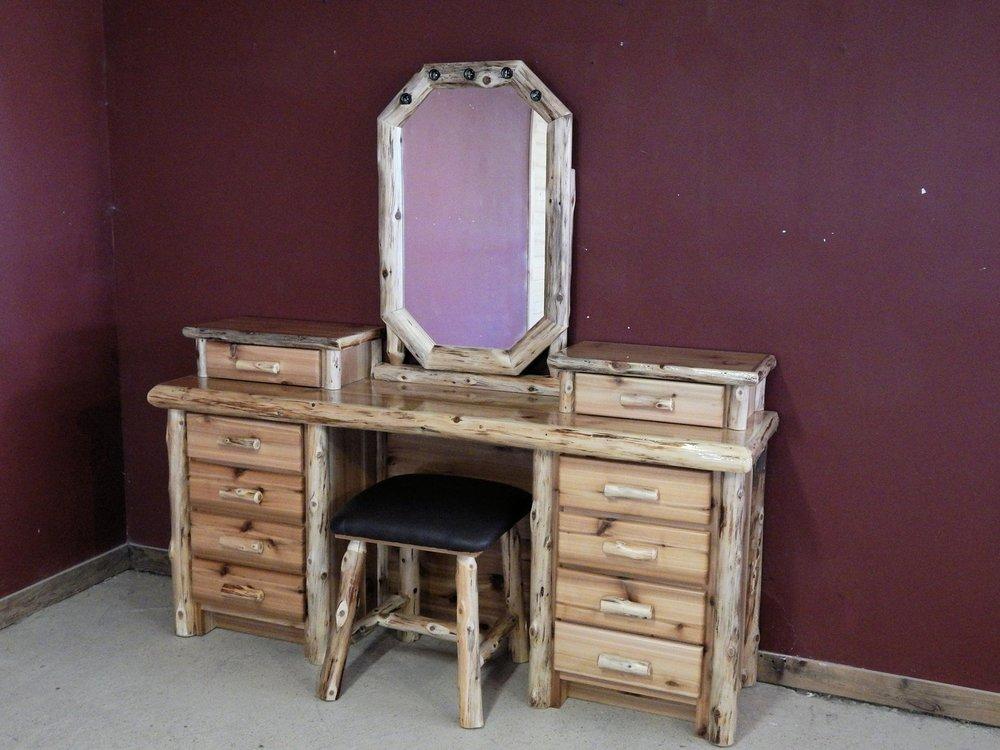 Cedar Log Makeup Desk Barn Wood Furniture Rustic