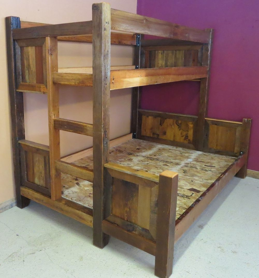 Barn wood bunk bed barn wood furniture rustic for Wooden bunkbeds