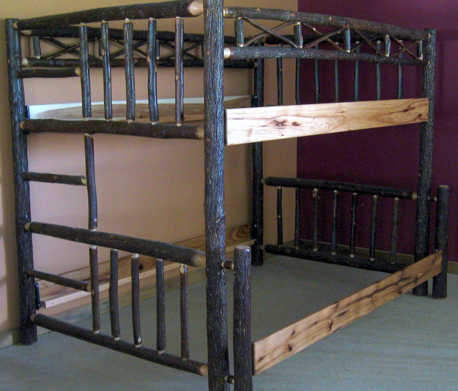 Hickory Bunk Bed Barn Wood Furniture Rustic Barnwood And Log