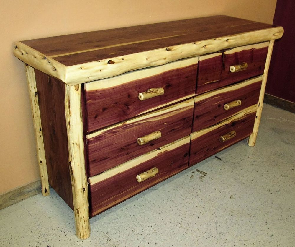 Red Cedar Juniper 6 Drawer Dresser With Log Handles