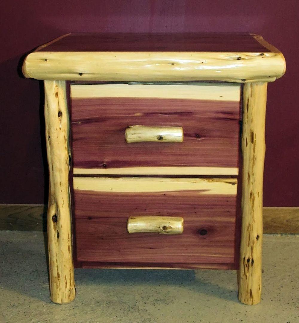 Red Cedar Juniper Log Night Stand With 2 Drawers Made From High Character  Juniper Logs And Red Cedar Wood. Features 2 Large Working Drawers With The  Option ...