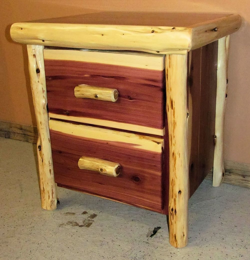 Red Cedar Juniper Log Night Stand 2 Drawer Barn Wood Furniture Rustic Furniture Log