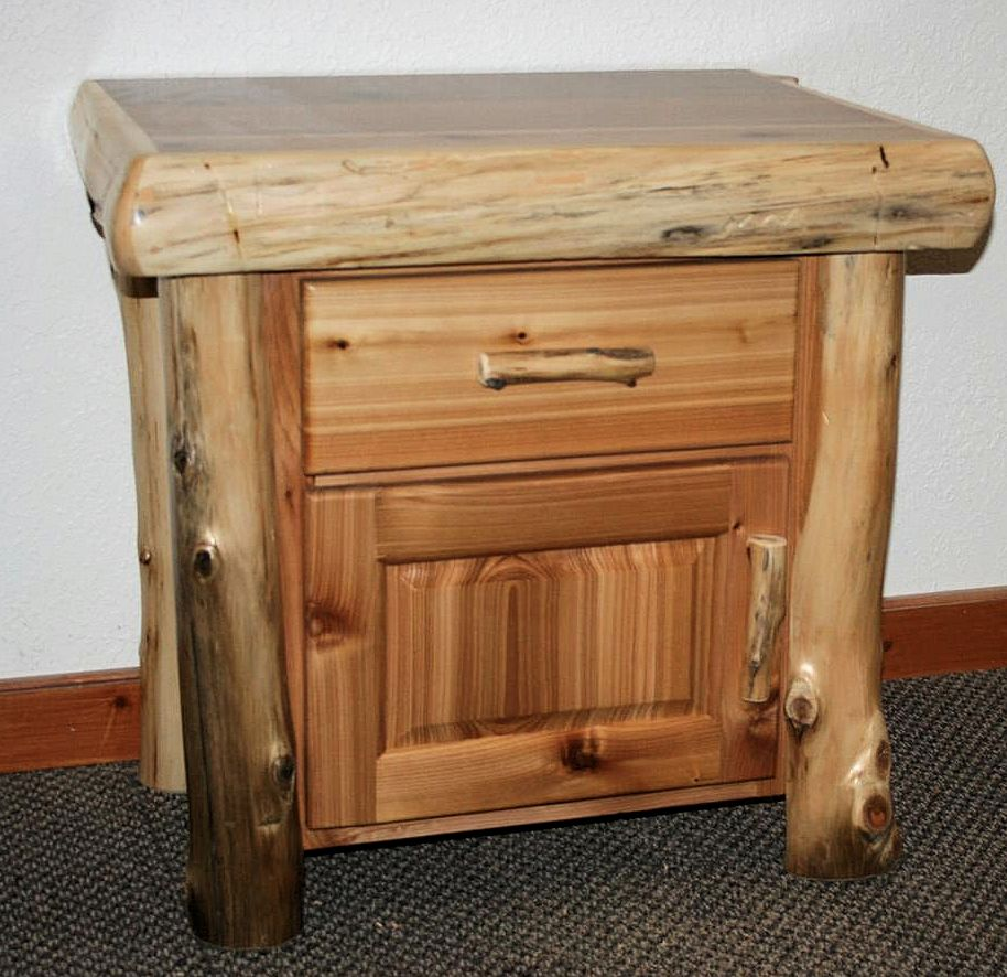 Cedar Log Night Stand Cabinet Barn Wood Furniture