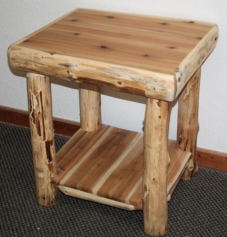 Log Night Stands Made From Northern White Cedar Logs