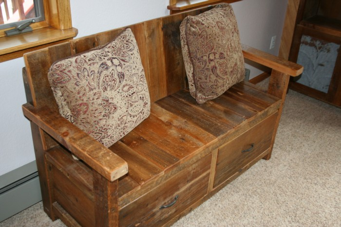 Barnwood Bench With Back