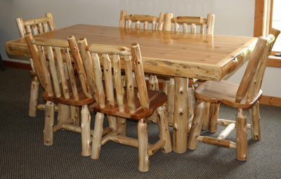 log kitchen table barn wood furniture rustic barnwood and log