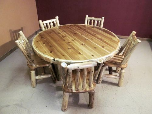 Log Kitchen Tables Round log table barn wood furniture rustic barnwood and log round log table workwithnaturefo