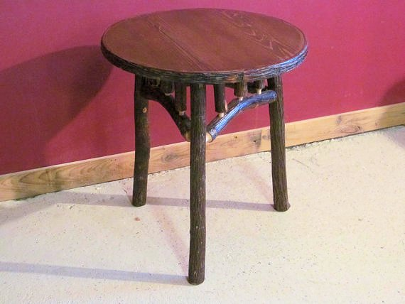 Hickory Log End Table Round 1