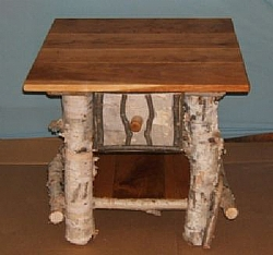 Rustic Log End Table Birch