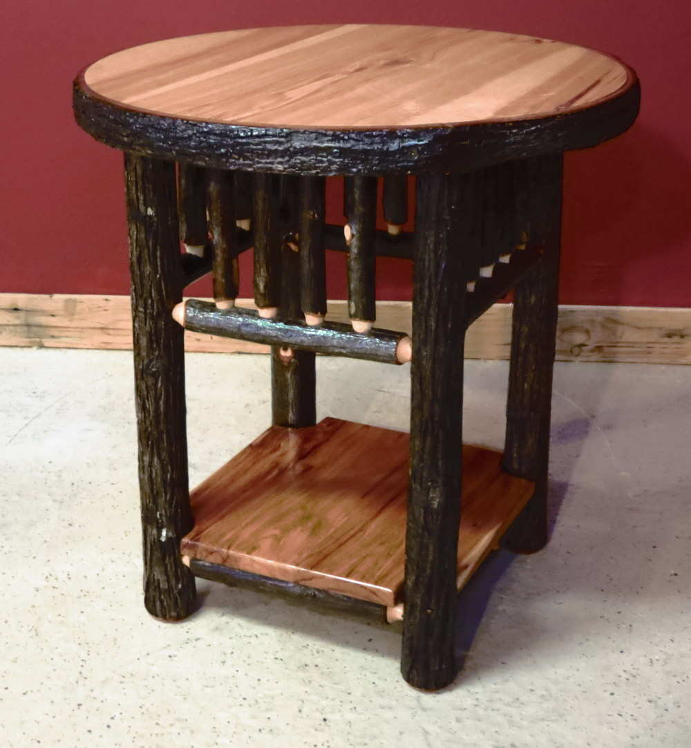 Round Hickory End Table With Solid Shelf