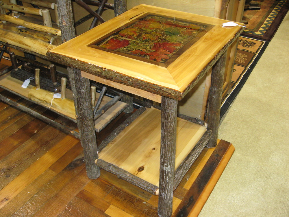 Hickory Log End Table With Decorative Inlay