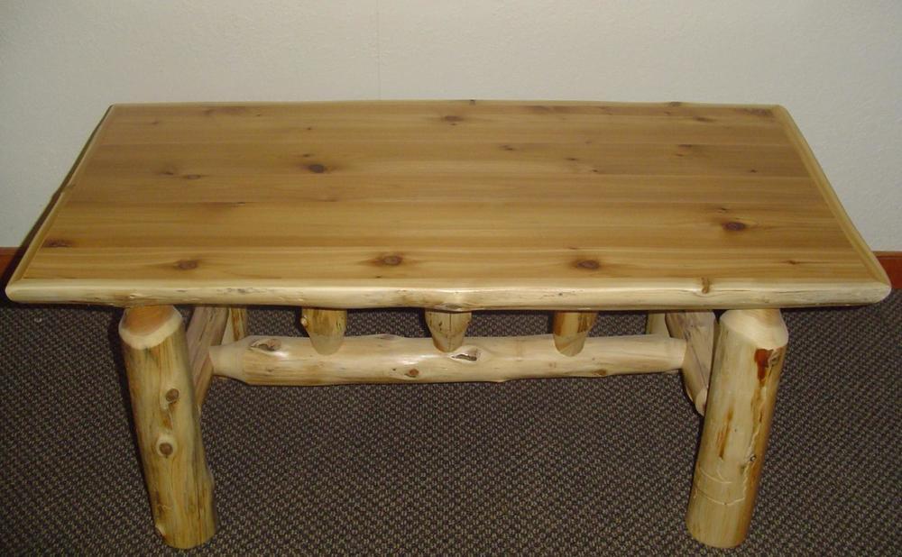 Large Cedar Log Coffee Table Barn Wood Furniture Rustic Barnwood