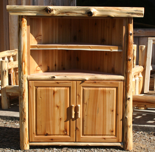 Log Corner Tv Stand Tall Barn Wood Furniture Rustic