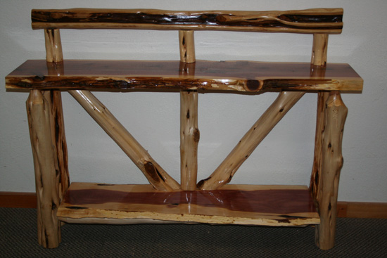 Red Cedar Log Sofa Table