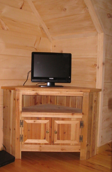 Reclaimed Wood Corner TV Stand